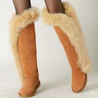 Genuine Fur Leather Knee Long Winter Snow Boots For Women