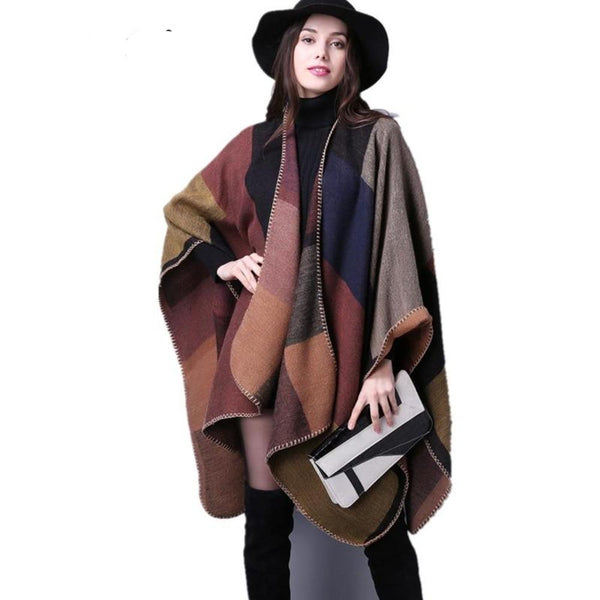 Pure Cashmere Poncho Scarf For Women