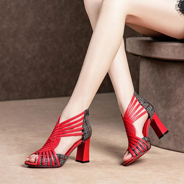 Gladiator Design Peep Toe High Heel Sandal Shoe For Women