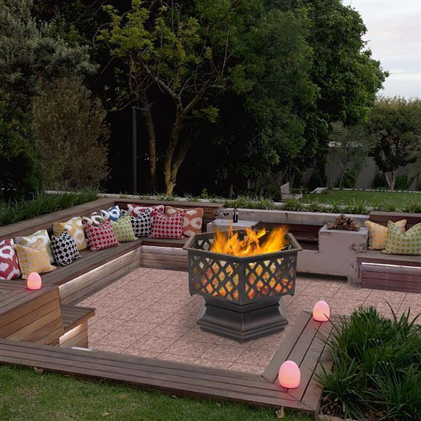 Hexagonal Wood Burning Fire Pit For Outdoor Patio Backyard & Poolside-firepit-radekus