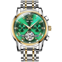 Gold Green Stainless Steel Watches For Men