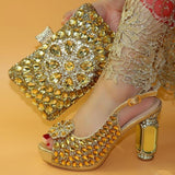 New Fashion Italian Shoe and Bag Set for Party Silver Color Luxury Shoes Women Designers Nigerian Women Wedding Pumps with Purse-200001012-radekus