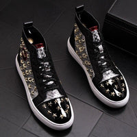 Black Casual Hip Hop Rivet Shoes For Men