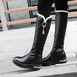 Knee High Genuine Leather Boot Shoes With Square Heels-shoes-radekus