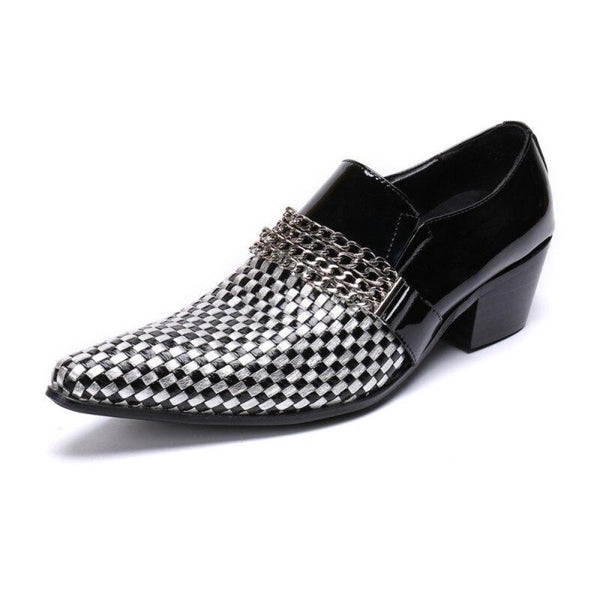 Genuine Leather Checkerboard Shoes