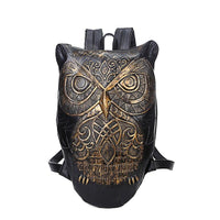 Leather waterproof Backpack Bag With Unique 3D Embossed Owl Face-Bags-radekus