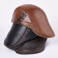 Genuine Leather Warm Hat Winter Baseball Cap