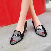 Square Heel Pumps Shoes With Abstract Face Design For Women