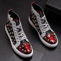 Red White Hip Hop Rivets Casual Shoes For Men