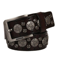 Genuine Leather Belt With Rivets