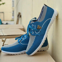 Low Top Blue Lace Up Casual Shoes