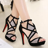 European Retro Design High Heel Shoes With Strap-Shoes-radekus