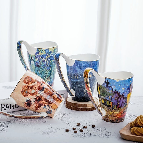 Bone China Coffee Mug & Tea Cup With Retro Art Van Gogh Paintings-Kitchen-radekus