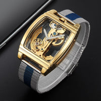 Silver Blue Transparent Watch For Men
