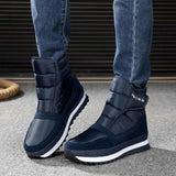 Warm Plush Navy Ankle Boots For Men