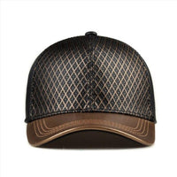 Unisex Genuine Leather Golden Baseball Hat-hats-radekus