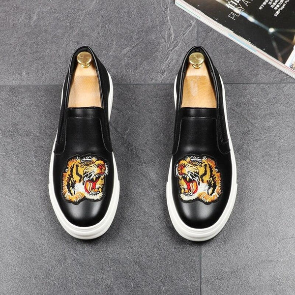 Tiger Embroided Casual Loafers