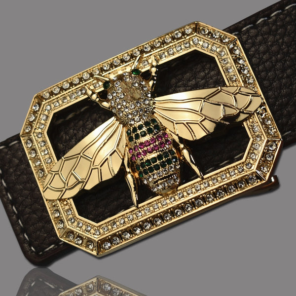 Leather Belt With Colorful Bee Buckle & Studded Semi Precious Stones-Belts-radekus