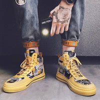Yellow Printed Sneakers For Men