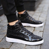Black Shiny Hip Hop Sneakers For Men