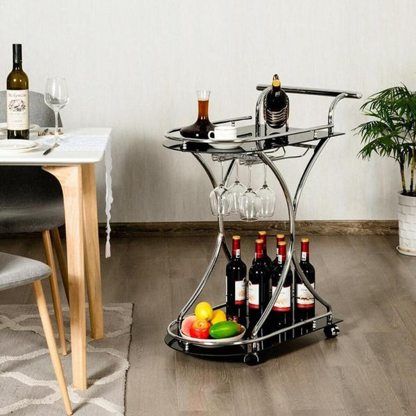 Rolling Bar Cart With Glass Shelves, Glass Racks & Wine Bottle Holder-Kitchen-radekus