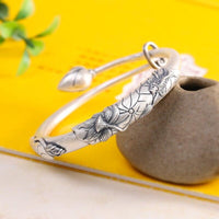 Lotus Design Pure Silver Bracelet For Women
