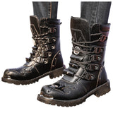 Black Combat Leather Shoes For Men