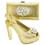 New Arrival Italian Ladies Shoes and Bags To Match Set Decorated with Rhinestone Women Italian African Party Pumps Shoes and Bag-200001012-radekus