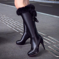Knee Length High Heel Lace Adorned Vegan Leather Winter Boot Shoes For Women