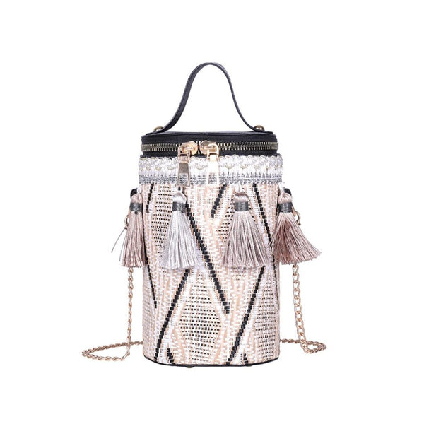 Tassel Woven Bucket Shaped Fashion Bag With Golden Chain For Women-Bags & Clutches-radekus