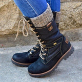 Ankle High Vegan Leather Lace Up Winter Snow Boot Shoes For Women