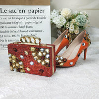 Designer Crystal Shoes With Matching Clutch Bag Set-Shoes Bags-radekus