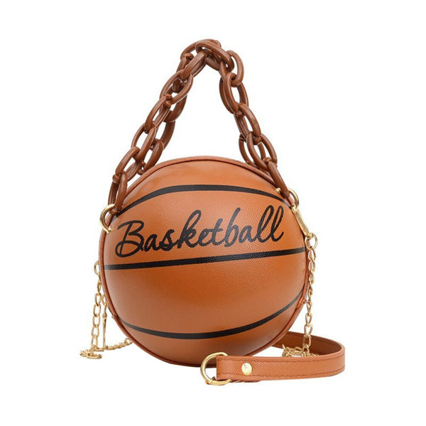 Basketball Shaped Tote, Shoulder Bags with Acrylic Chain for Women-100002856-radekus