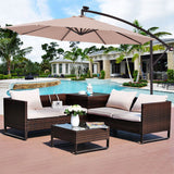 Patio Deck Umbrella With Solar LED Lights UV Protection & Water Repellent Features-Umbrella-radekus
