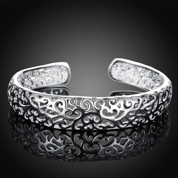 White Gold Bracelet With Contemporary Art Design-Cuffs Bracelets & Rings-radekus
