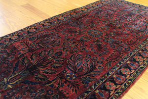 3x6 Antique Sarouk Persian Oriental Area Rug