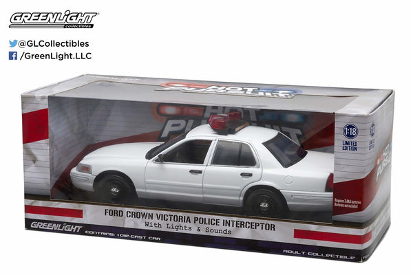 1/18 Scale White Ford Crown Victoria Interceptor with Lights and Sound Diecast Model