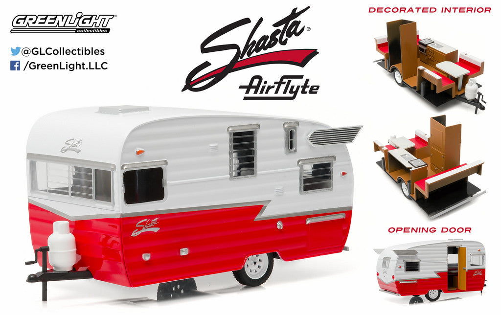 White & Red Shasta 15' Airflyte 1/24 Scale Diecast Model by