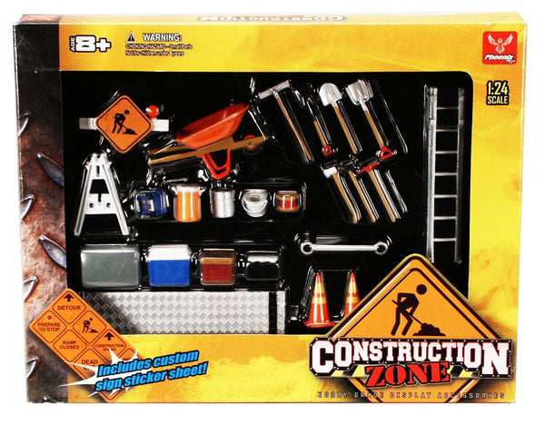 Hobby Gear 1:24 Scale Road Construction Zone Diorama Set