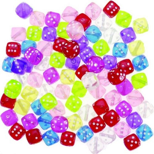 Transparent Dice Beads Acrylic Beads - 8mm - 200 Per Order