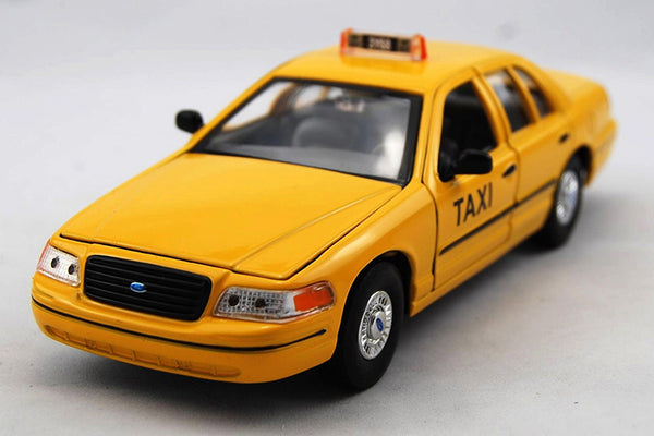 Yellow Taxi 1999 Ford Crown Victoria 1/24 Scale Diecast Model with Window Box