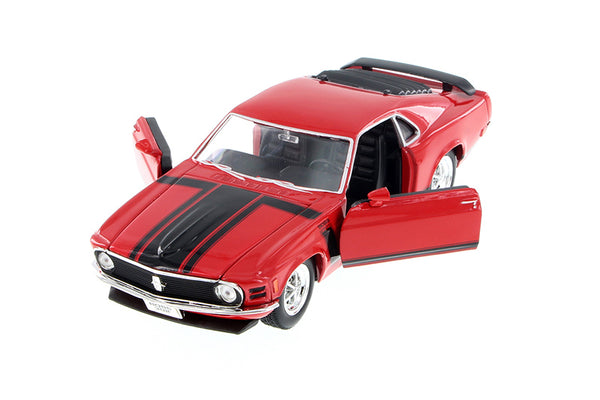 Red 1970 Ford Mustang Boss 302 1/24 Scale Diecast Model with Window Box by Welly