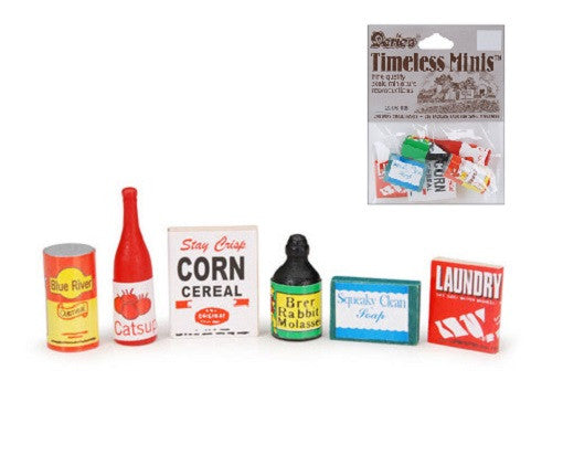 Miniature - Grocery Set - 3/4 to 1-1/2 inches - 6 pieces