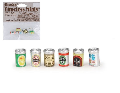Miniature - Assorted Beer Cans - 1/2 inch - 6 pieces
