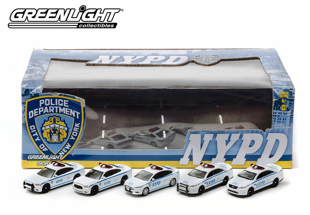 ... Greenlight Collectibles NYPD Diorama 1/64 Set Of 5 Diecast NYPD Police  Cars