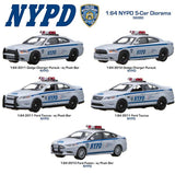 Greenlight Collectibles NYPD Diorama 1/64 Set of 5 Diecast NYPD Police Cars