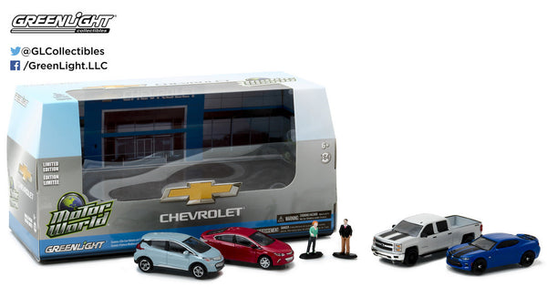 Motorworld Modern Chevrolet Dealership Set includes 4 1/64 Vehicles and 2 Figures