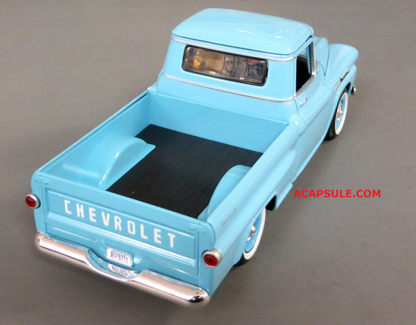 Blue 1958 Chevrolet Apache Fleetside Pick Up 1/24 Scale Diecast Model