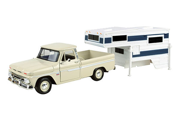 1966 Chevrolet C10 Fleetside Pick Up with Camper 1/24 Scale Model
