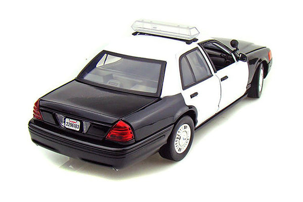 Black and White 2001 Ford Crown Victoria Undecorated Police Car 1/18 Scale Diecast Model